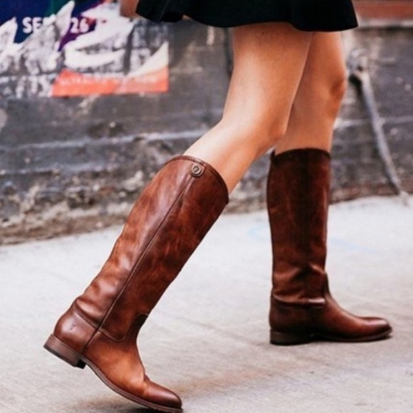 FRYE Melissa Button 2 Cognac Leather Tall Boots